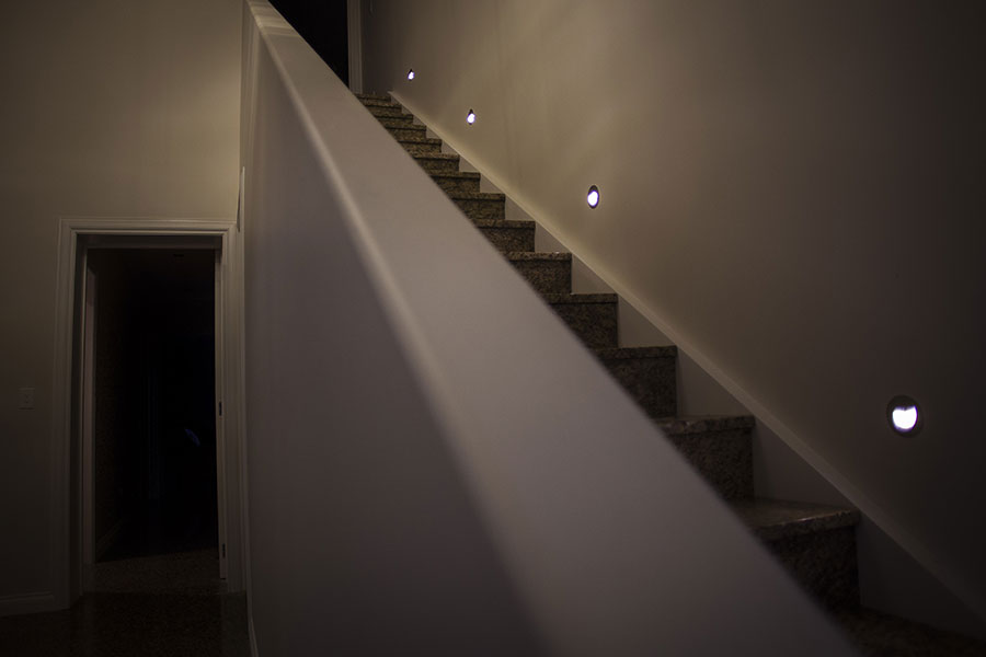 Stair lights inside a Wanaka home in Mt Barker